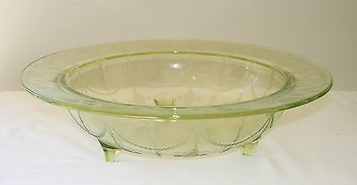 Beautiful Hocking Green CAMEO Ballerina Depression Glass 3-Footed Console Bowl