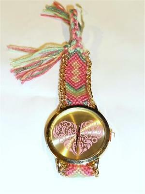 Heart Watch - Braided Strap - Guaranteed + Spare Battery - Free Uk P&P....cg1092