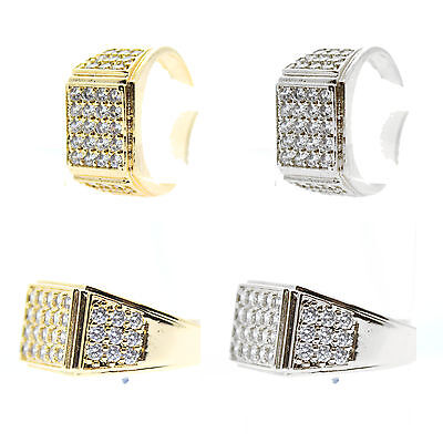 CZ Gold Diamante Rhodium Plated Silver Mens Ring Pinky HipHop Cubic UK