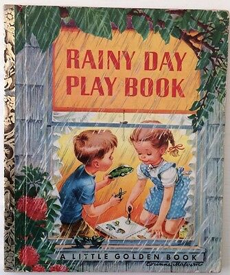 "Vintage RAINY DAY PLAY BOOK ""A"" 1st Ed Children's A LITTLE GOLDEN BOOK #133 1951"