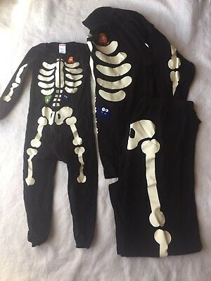 Adult/Child Matching Gymboree HALLOWEEN SKELETON Gymmies pajamas Mens XL + 3T