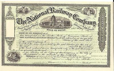 The National Railway Company......1800's Unissued Stock Certificate