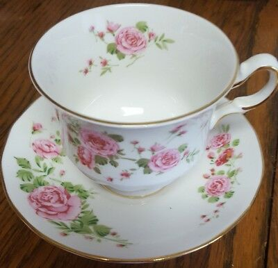 Avon Cup and Saucer Set Pink Roses Made in England circa 1974 Fine Bone China