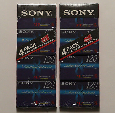 ~Two 4-packs of Sony 8mm P6-120MP Standard Grade Videocassettes~Fast Shipping~