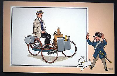 HERGE CHEQUE TINTIN CHROMO  / AUTOMOBILE  Série10 N°35 TRICYCLE DE DION BOUTON