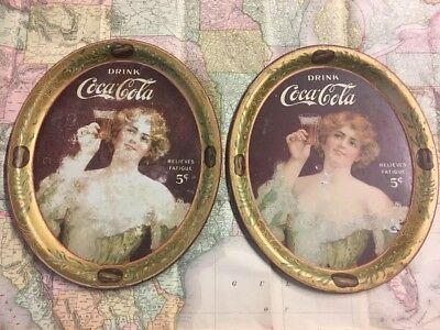 Two 1907 COCA COLA TIN LITHO ADVERTISING SERVING TRAY RELIEVES FATIGUE COKE TRAY