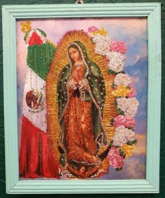 Virgin of Guadalupe Glittery & Gorgeous Framed Retablo Picture Religious Icon