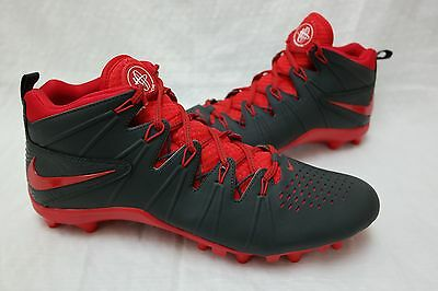 New! Nike 4 LAX Lacrosse Cleats 616296-060 Men's SIZE 13 Gray/Red I46