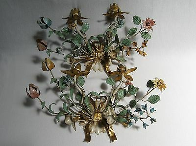 Lot of 2 Vintage Painted Metal Flower Floral Wall Sconce Candle Holders