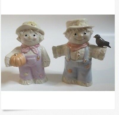 Excellent A Dash Of Autumn Salt & Pepper Set ~ Lenox ~ Scarecrow Couple ~ Mib