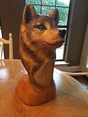 Rare Don Rutledge Wolf Chainsaw Wood Carving