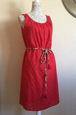 Monsoon Size 10 Cotton Dress Red