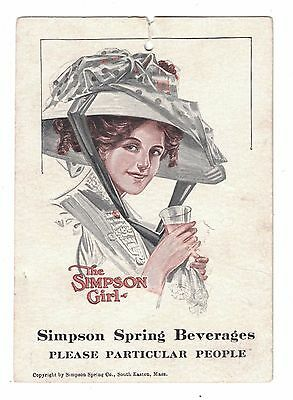 Simpson Spring Beverages Tag - Gibson Girl style - South Easton, Mass
