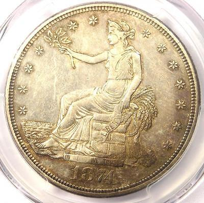 1874-CC Trade Silver Dollar T$1 Coin - Certified PCGS AU Details Chop Mark!