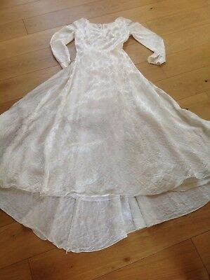EMENSON vintage 1950s original IVORY satin BROCADE wedding dress 10 UK