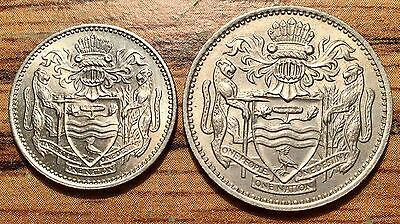 1967 Bank of Guyana 10 & 25 Cents Copper Nickel Coins Uncirculated+