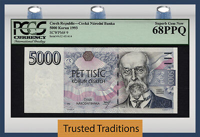 "Tt Pk 9 1993 Czech Republic 5000 Korun ""tomas Garrigue"" Pcgs 68 Ppq Superb Pop 7"
