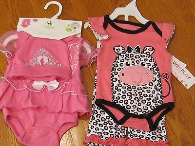 NWT Baby Girls Short Sleeve Outfit Size 0/3 Months Disney Weeplay Pink 2 Outfits