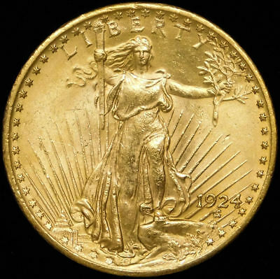 1924 $20 St Gaudens Gold Sparkling Luster Spot Free  PQ #501H