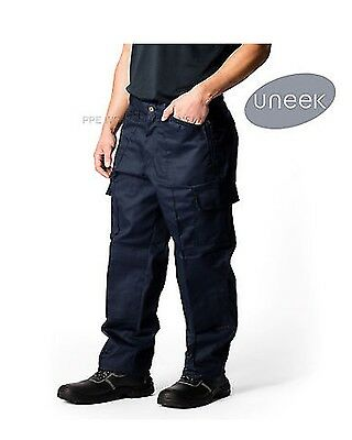 Uneek UC903 Mens Action Work Trousers Multiple Zipped Pockets WorkWear Pants 34R
