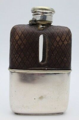 Antique Silver Plated, Leather And Glass Hip Flask