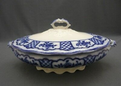 Antique 1900's Flow Blue W. H. Grindley MELBOURN Pattern Covered Vegetable Dish