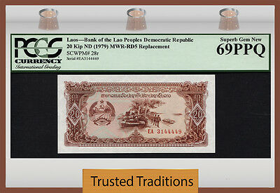 "TT PK 28r 1979 LAOS 20 KIP ""REPLACEMENT NOTE"" PCGS 69 PPQ SUPERB GEM NEW POP ONE"