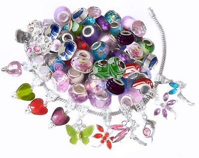 Wholesale Bulk 100 Mix Silver Charms Dangle Charms Murano Beads FREE Bracelet