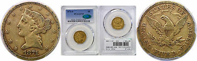 1871-S $5 Gold Coin PCGS F-15 CAC
