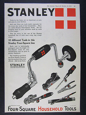 1924 Stanley Four-Square Tools bit brace drill plane wrench vintage print Ad