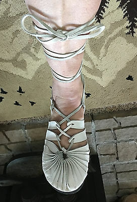 Medieval Renaissance Leather Hand Made Women Shoes Size 9 Wide High Strap Sandal
