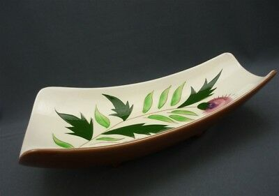 Vintage Stangl Pottery Thistle Pattern FOOTED Curved Fruit Bowl Serving Dish USA