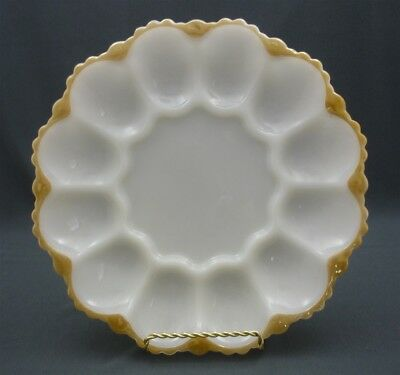 Vintage Devilled Egg Oyster Plate Anchor Hocking Milk Glass Luster Gold Trim