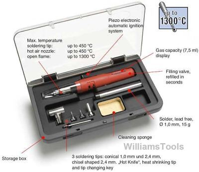 Weller Piezo Butane Gas Cordless Soldering Iron Set Hot Air Kit WP3EU