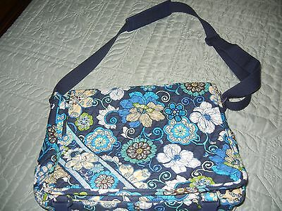 "Vera Bradley ""Messenger Laptop Crossbody Bag""  in Mod Floral Blue/Retired"