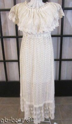 Beautiful! Tambour NET Lace Fancy Wedding Vintage DRESS Philadelphia Estate