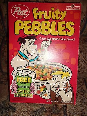 Vintage POST FRUITY  PEBBLES   Cereal Box Bedrock Water Squirter  offer