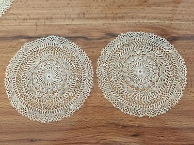 6 Lovely Antique Lace Cocktail Coasters / Doilies Unused  NR