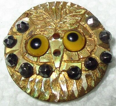 Antique Mother of Pearl Button - Intricately Carved Owl w Glass Eyes Cut Steels