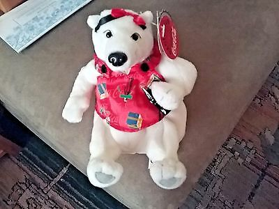 """Coca-Cola Collection 1999 5"""" Plush Xmas Polar Bear With Coke Bottle and Red Bow"""