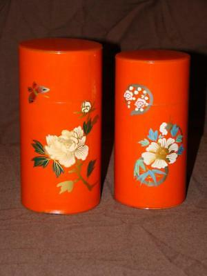 Vintage Antique Pair of Chazutsu Japanese Hand Painted Canister Tea Tin Caddy