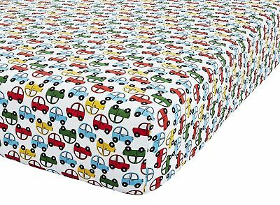 Catherine Lansfield Transport Toddler Fitted Sheet, Bright