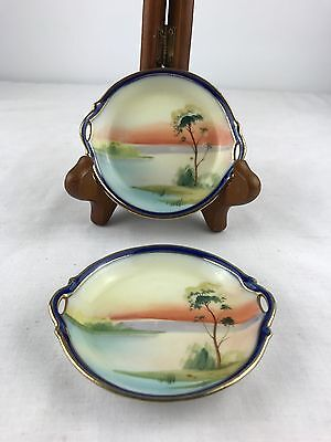 VINTAGE NIPPON HAND PAINTED DISHES x 2
