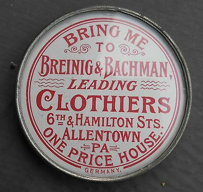 Vintage Breinig & Bachman Clothiers Pocket Mirror-Advertising Mirror-Allentown,