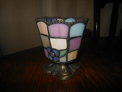 Beautiful Vintage Stained Glass Pedestal Candle Holder! Flower Motif/metal Base