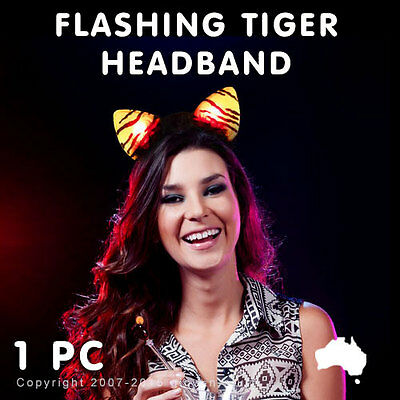 1 X Flashing Led Tiger Cat Ears Headband Light Up Glow Dark Rave Party Dance