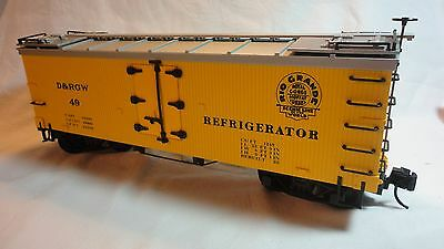 G SCALE DELTON LINES D&RGW REEFER YELLOW W/ SILVER ROOF No. 49 STOCK # 4257Y