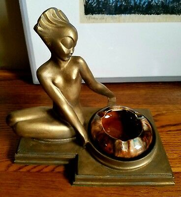 "Vintage ◇Art Deco◇ ""Nuart"" Nude Nymph Lady Ashtray Trinket Dish"