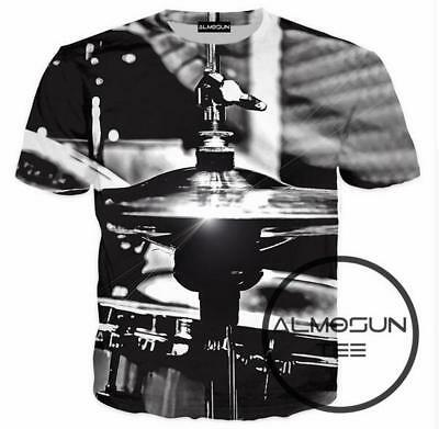 New Fashion Women/Men Instruments Drums Cymbals 3D Print Casual T-Shirt YT395