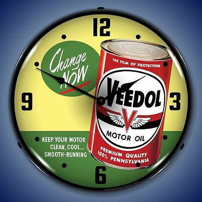 New vintage style Veedol Motor Oil LIGHTED clock Red Oil Can USA Made Fast Ship